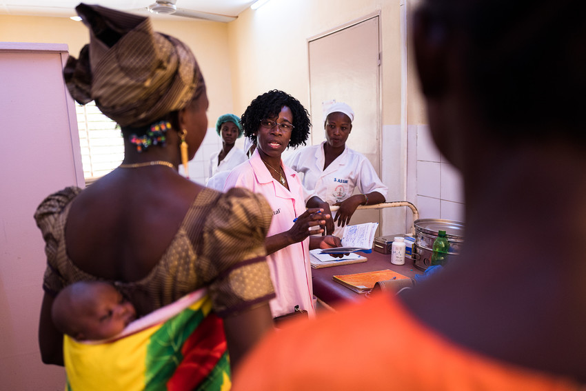 For many women in West Africa, a trip to the health facility involves traveling many miles from home. Now women can access more services during a single visit, thanks to the new integration model. Photo by Trevor Snapp for IntraHealth International.