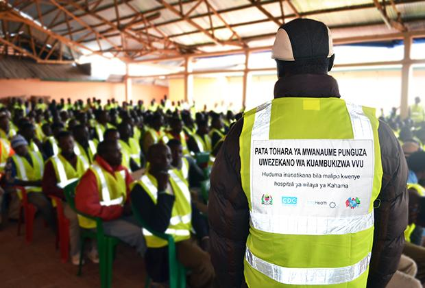 IntraHealth worked to raise awareness and demand for voluntary medical male circumcision services in Shinyanga, to persuade local boda boda operators to educate their peers and customers about safety and health services.