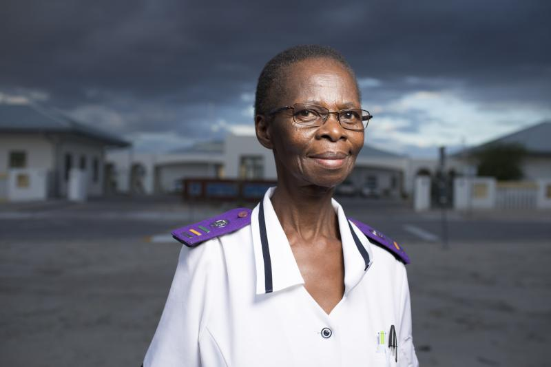 """Shirley Mwellie, 69. Omuthiya District Hospital, Namibia. """"We don't want to sit,"""" Mwellie says. """"We want to do."""" Photo by Morgana Wingard for IntraHealth International."""